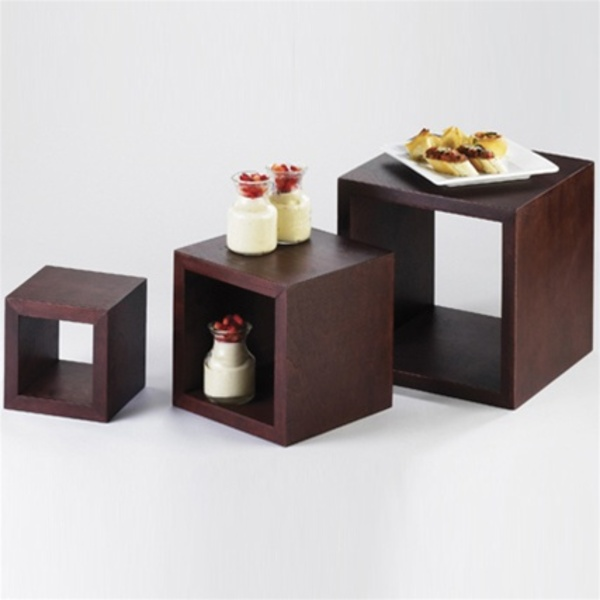 Square Dark Wood Risers - Set Of 3 Sizes (1915)