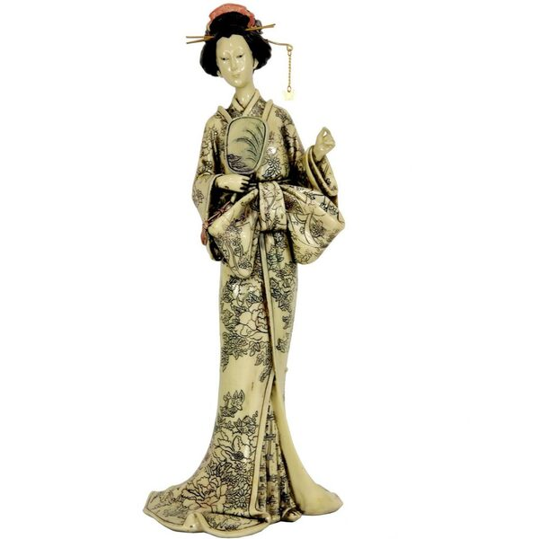 "14"" Geisha Figurine with Large Bow Kimono (STA-GSH1)"