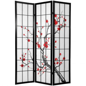 "6 ft. Tall Cherry Blossom Shoji Screen - Black 3 Panels - Size - 42""W x 70""H (folded as shown) (CBLSS)"