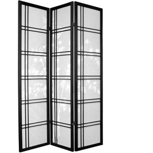 6 ft. Tall Bamboo Tree Shoji Screen - Black 3 Panels (SSCDXBT-WHT)