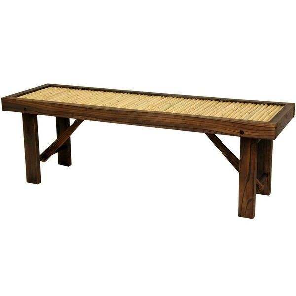 "Japanese Bamboo Bench with Wood Frame 47.25""W x 14.25""D x 15.75""H (WD99092)"