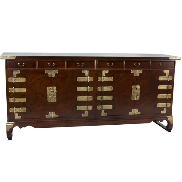 Asian Antique Style Double Cabinet Credenza - 8 Drawers (KRN-C-40)