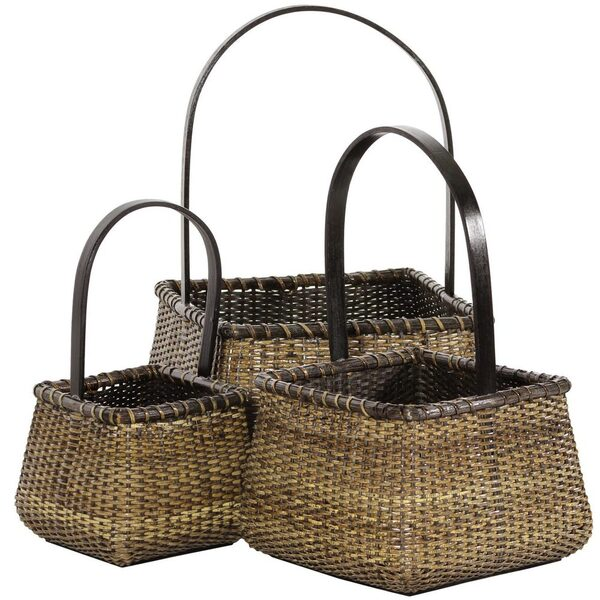 Nesting Square Rattan Baskets with Handle Set of 3 (RV-B189)