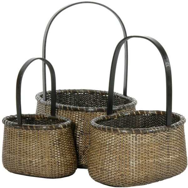 Nesting Round Rattan Baskets with Handle Set of 3 (RV-B192)