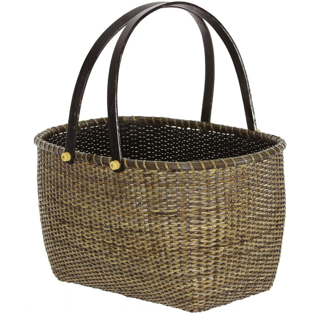 Woven Storage Baskets With Handles : Nesting rattan open storage baskets with handles set of