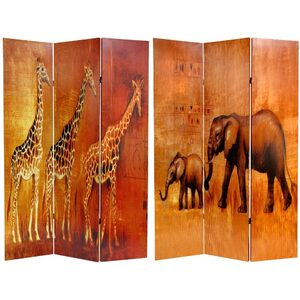 6 ft. Tall Giraffe & Elephant Double Sided Room Divider 3 Panels (CV-GIRAFFE)