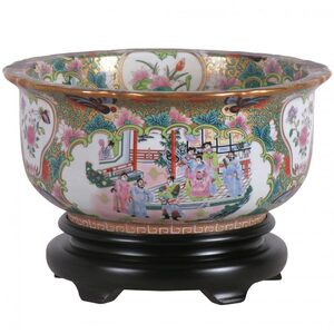 "Rose Medallion Bowl 16"" Diameter (PDGC1316B)"