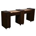 Canterbury C - Double Manicure Table - Half Marble Top (FT503C)