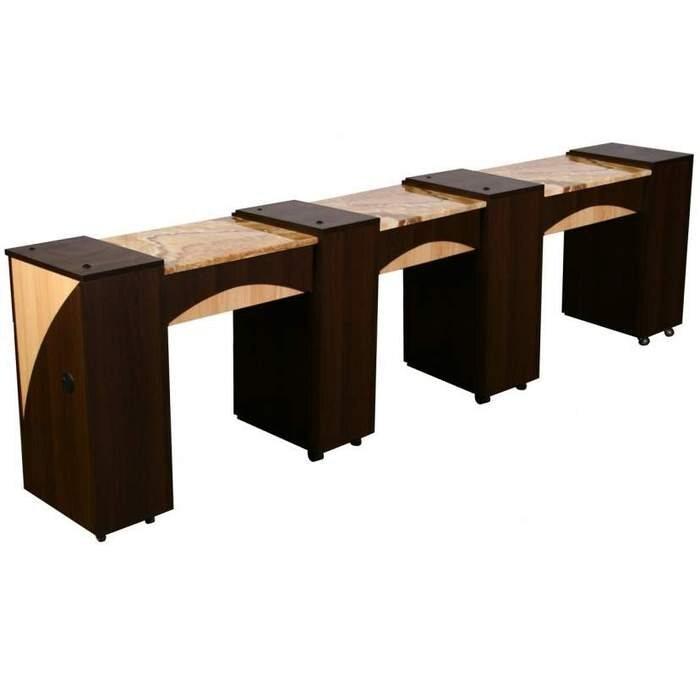edita d triple manicure table half marble top ft504d - Manicure Table