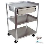 "3 Shelf Stainless Steel Cart with Economy Drawer 21""x16""x30 by Ideal Products (MC21ED)"