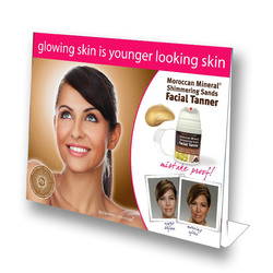 "8.5"" X 11"" Point-of-Purchase Stand-Up Counter Display for Extended Vacation Facial Tanner"