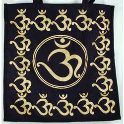 "Black and Gold Om Tote Bag 18"" x 18"" (RB75OM)"