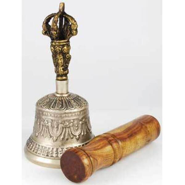 Bronze Tibetan Hand Bell and Puja Stick (FBT41)