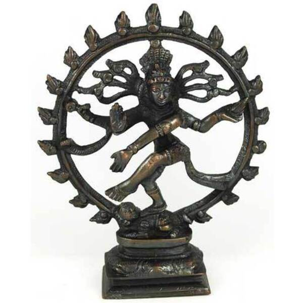 "Large Antiqued Bronze Shiva Dancing Statue 6"" (SS45A)"
