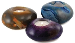 Polished Stone Tea Light Candle Holder - Various Colors (CHTSTO)