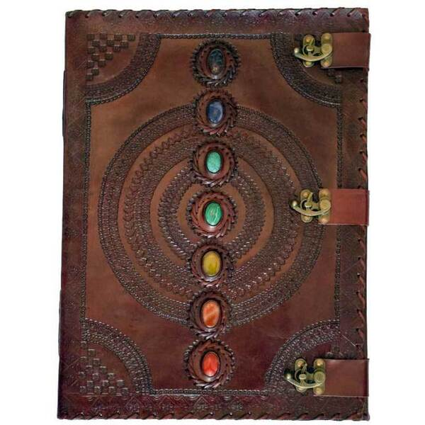 "7 Chakra Stone Leather Blank Book with 3 Latches 13.5"" x 18"" (BBBL612)"