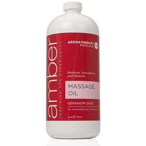 Geranium Sage Massage Oil 32 oz. by Amber Products (AMB526-GS)