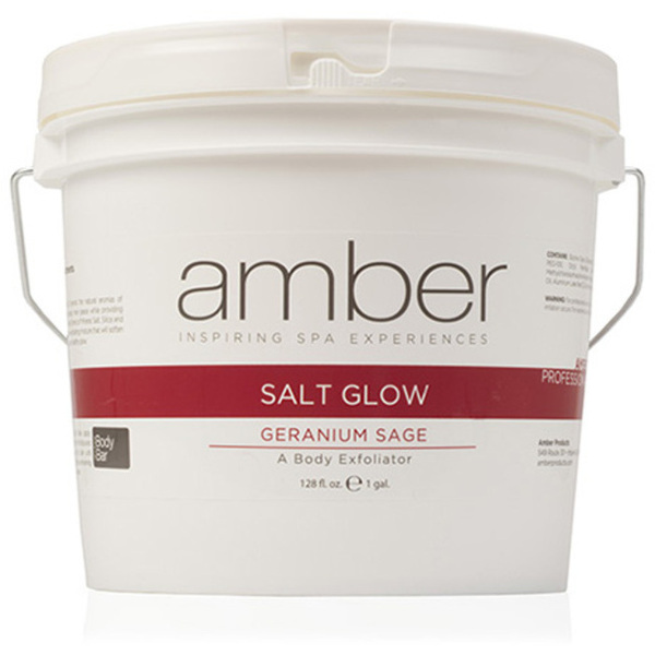 Geranium Sage Exfoliating Salt Glow 1 Gallon by Amber Products (AMB720-GS)