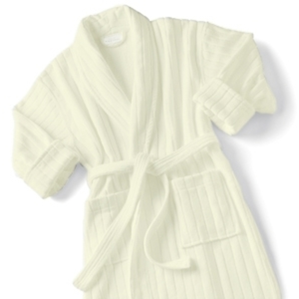 Velour Stripe Bathrobe Ecru by Boca Terry (SSSW074)