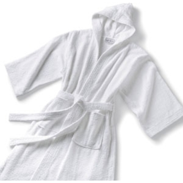 Velour Hooded Bathrobe White by Boca Terry (SSSW072)