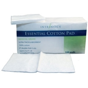 "4"" X 4"" Essential Cotton Pad 100 Count per Pack 10 Packs by Intrinsics (INT400651)"
