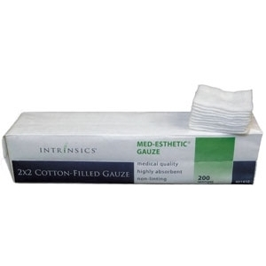 "2"" X 2"" Cotton Filled Gauze 200 per Sleeve Case of 25 Sleeves by Intrinsics (INT401410)"