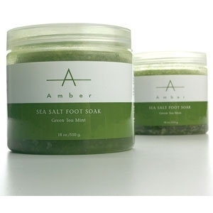 Green Tea Mint Sea Salt Foot Soak 18 oz. by Amber Products (AP116)