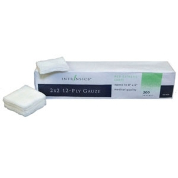 "2"" X 2"" 12-Ply Gauze 200 per Sleeve Case of 25 Sleeves by Intrinsics (INT401420)"