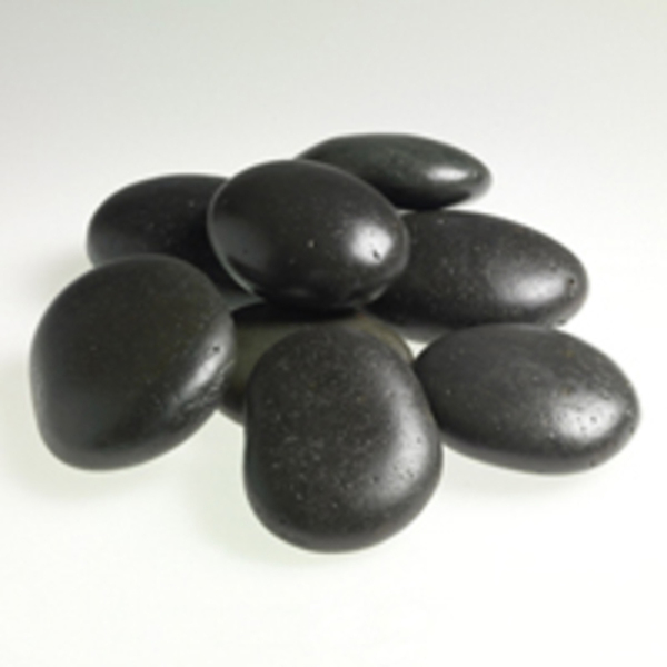 Large Black Basalt Stones Set of 8 by Amber Products (AMB822)