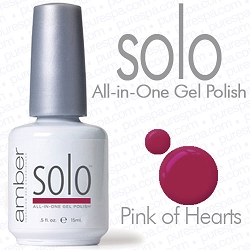 Solo All-in-One Gel Polish - No Base or Top Coat Needed - LED or UV Cured - 0.5 oz. Pink of Hearts (S516)