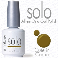 Solo All-in-One Gel Polish - No Base or Top Coat Needed - LED or UV Cured - 0.5 oz. Cute in Camo (S623)