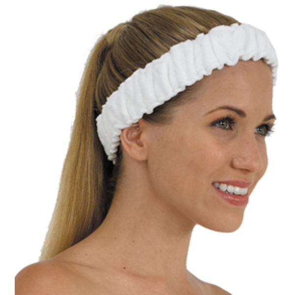 Terry Elasticized Spa Heaband White (BD653)