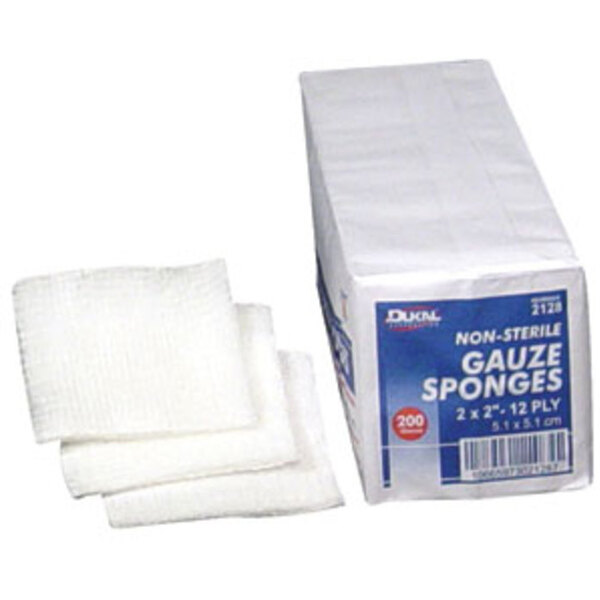 "Gauze Sponge 2""x2"" x 12 Ply 200 Count per Sleeve Case of 40 Sleeves (DK2128-40PK-CASE)"
