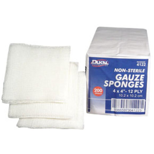 "Gauze Sponge 4""x4"" x 12 Ply 200 Count per Sleeve Case of 10 Sleeves (DK4122-10PK-CASE)"