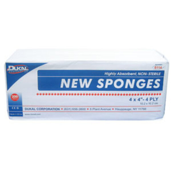 "Hi-Absorbency Non-Woven New Sponge - 4""x4"" x 4 Ply 200 Count per Sleeve Case of 10 Sleeves (DK6114-10PK-CASE)"