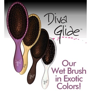 WET Wet Collection - Diva Glide Detangling Shower Brush / Assorted EXOTIC Colors / 3""