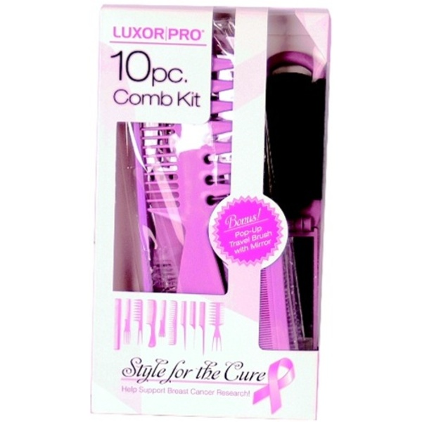 Style for the Cure - Luxor Pro 10 piece Roll-Up Comb Kit including BONUS Pop-up Brush with Mirror (0644T/BC)