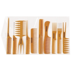 Gold Magic 10 Piece Bone Comb Rollup Set (BONE-10)