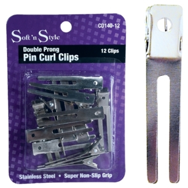 Soft 'n Style Double Prong Clip 12 per Card (CD1