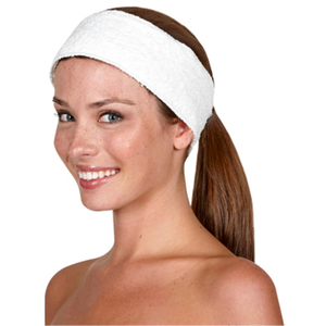 "Canyon Rose Terrycloth Spa Headband 3"" Wide Wh"