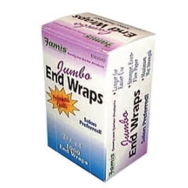"Famis Jumbo End Wraps 2-12"" X 4"" 1000 per Box ("