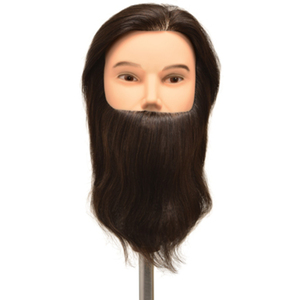 "Celebrity Dylan Budget Bearded Human Hair Male Manikin 19"" Brown Hair (659)"