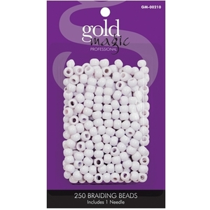 Gold Magic - White Braiding Beads - 250 Pack (GM-00210)
