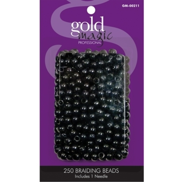 Gold Magic - Black Braiding Beads - 250 Pack (GM-00211)