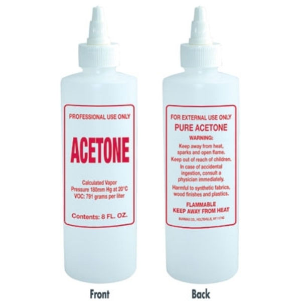 Imprinted Nail Solution Bottle - Acetone 8 oz. with Twist Top (B62)