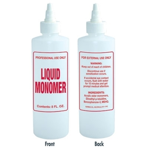Imprinted Nail Solution Bottle - Liquid Monomer 8 oz. with Twist Top (B65)