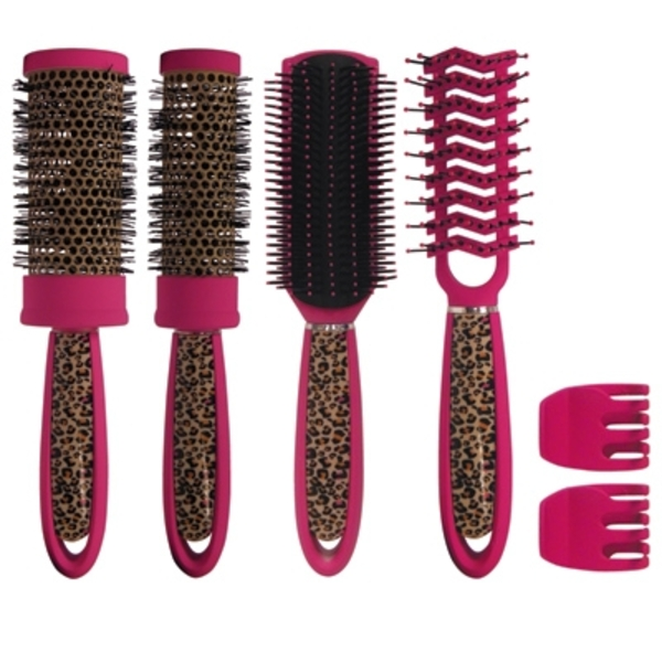 6 Piece Pink Leopard Brush Kit (SC9217)