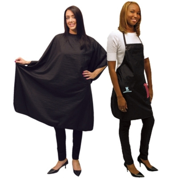 Ultra Light Crinkle Nylon Styling Cape & Salon Apron Set Black (4051)