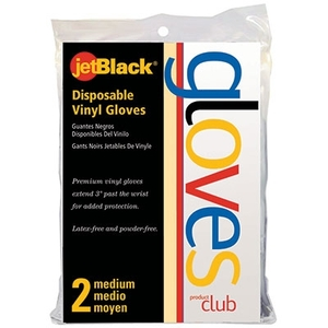 Disposable Black Vinyl Gloves Bag of 2 (BVGPF-2R)