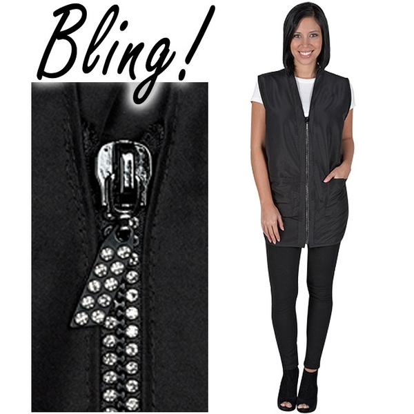 Glitz Women's Vest Black with Rhinestone Zipper (BD1279 Black)